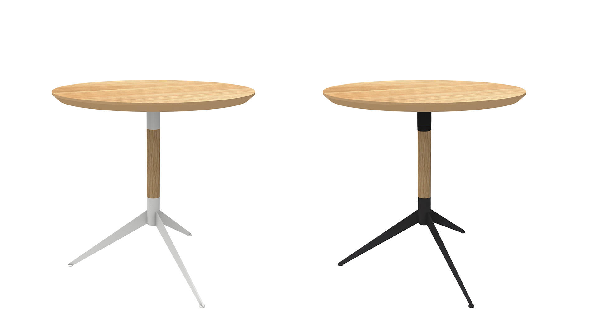 A material mix that is matchless: powdered steel base with an oak table top makes TableToe so unique / <i>Ein Material-Mix der seinesgleichen sucht (Design by eigenart Designstudio)</i>